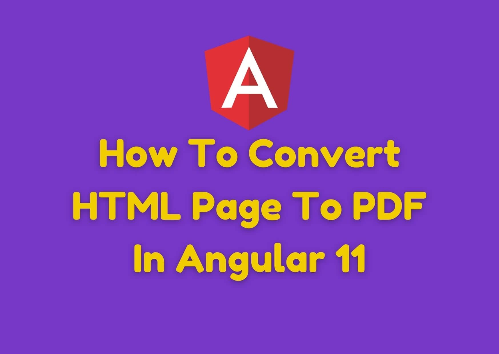 How To Convert HTML Page To PDF In Angular 11?